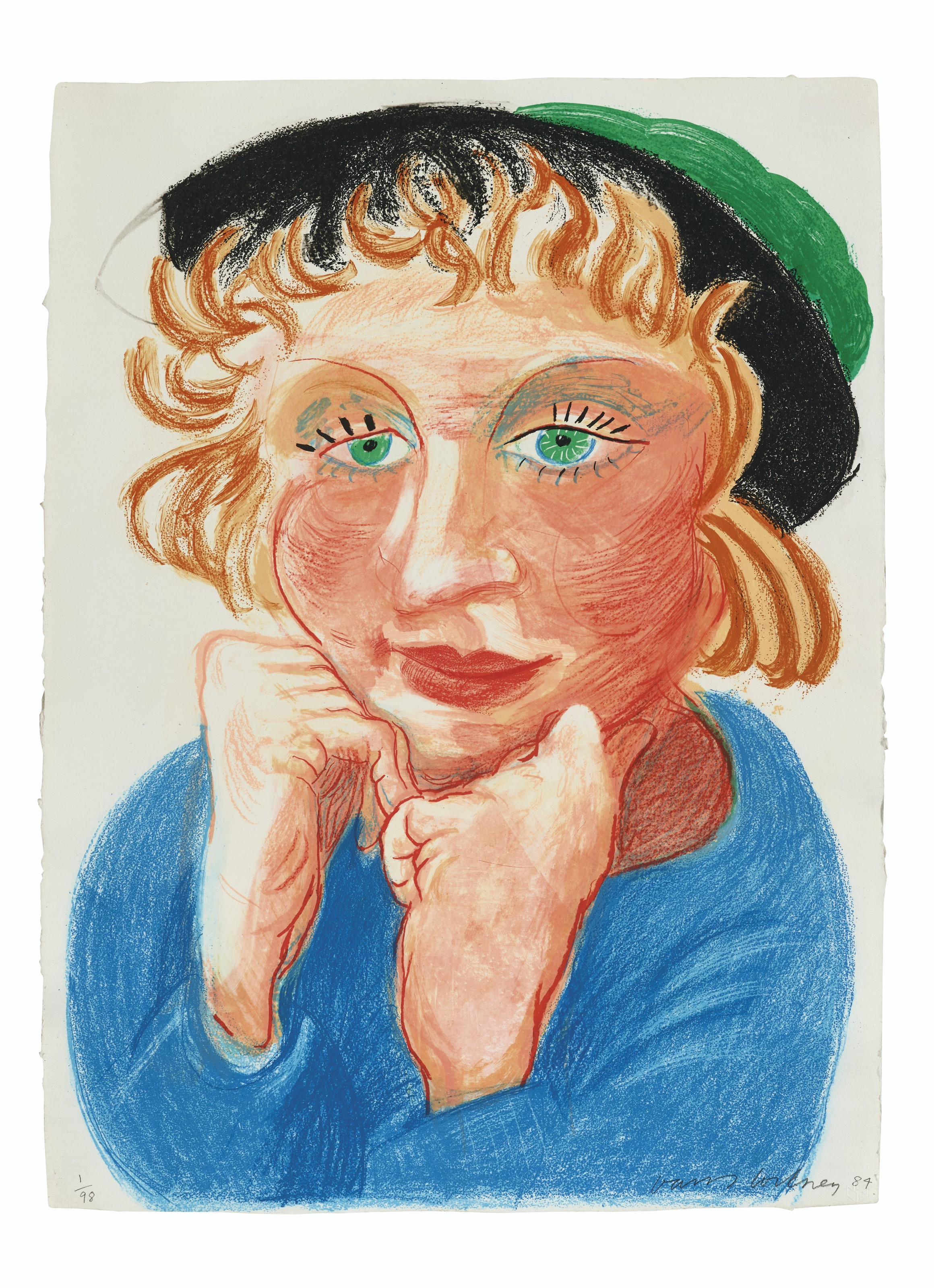 David Hockney (b. 1937), Celia with Green Hat, 1985. Lithograph in colours on HMP handmade paper, signed and dated in pencil, numbered 198. Image & sheet 29 x 19⅔ in (76 x 50 cm). Estimate £12,000-18,000. Offered in Prints & Multiples on 18 March 2020 at Christie's in London