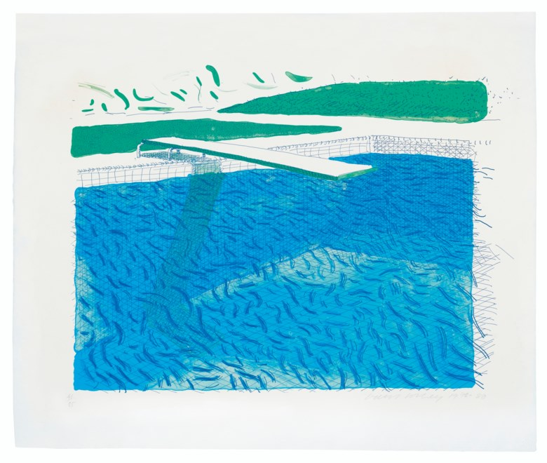 David Hockney (b. 1937), Lithographic Water Made of Lines, Crayon, and Two Blue Washes, 1978-1980. Lithograph in colours on TGL handmade paper, signed and dated in pencil, numbered 4185. Image 21⅗ x 27½ in (55 x 70 cm), sheet 29¾ x 43⅓ in (75.6 x 87.5 cm). Estimate £30,000-50,000. Offered in Prints & Multiples on 18 March 2020 at Christie's in London