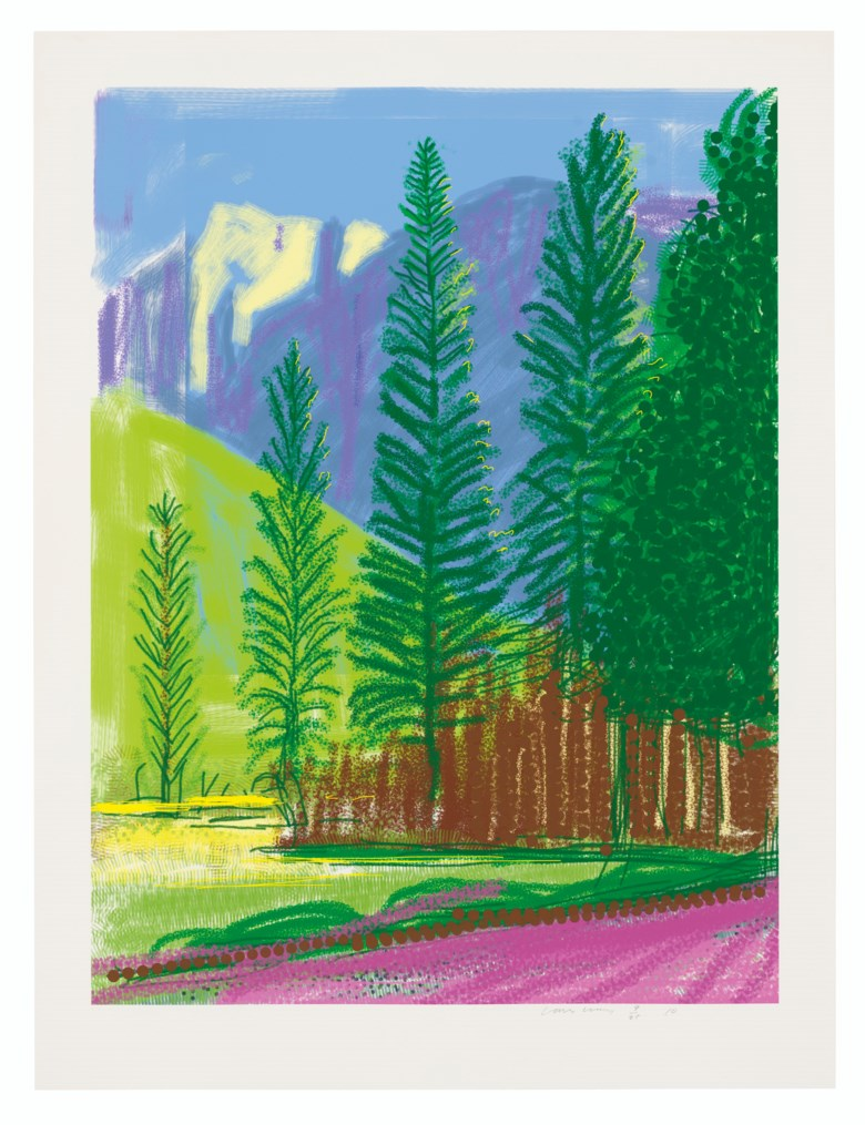 David Hockney (b. 1937), Untitled No. 12, from The Yosemite Suite, 2010. iPad drawing in colours printed on wove paper, signed and dated in pencil, numbered 925. Image 32 x 24 in (81.5 x 61 cm), sheet 37 x 28 in (94 x 71 cm). Estimate £15,000-20,000. Offered in Prints & Multiples on 18 March 2020 at Christie's in London