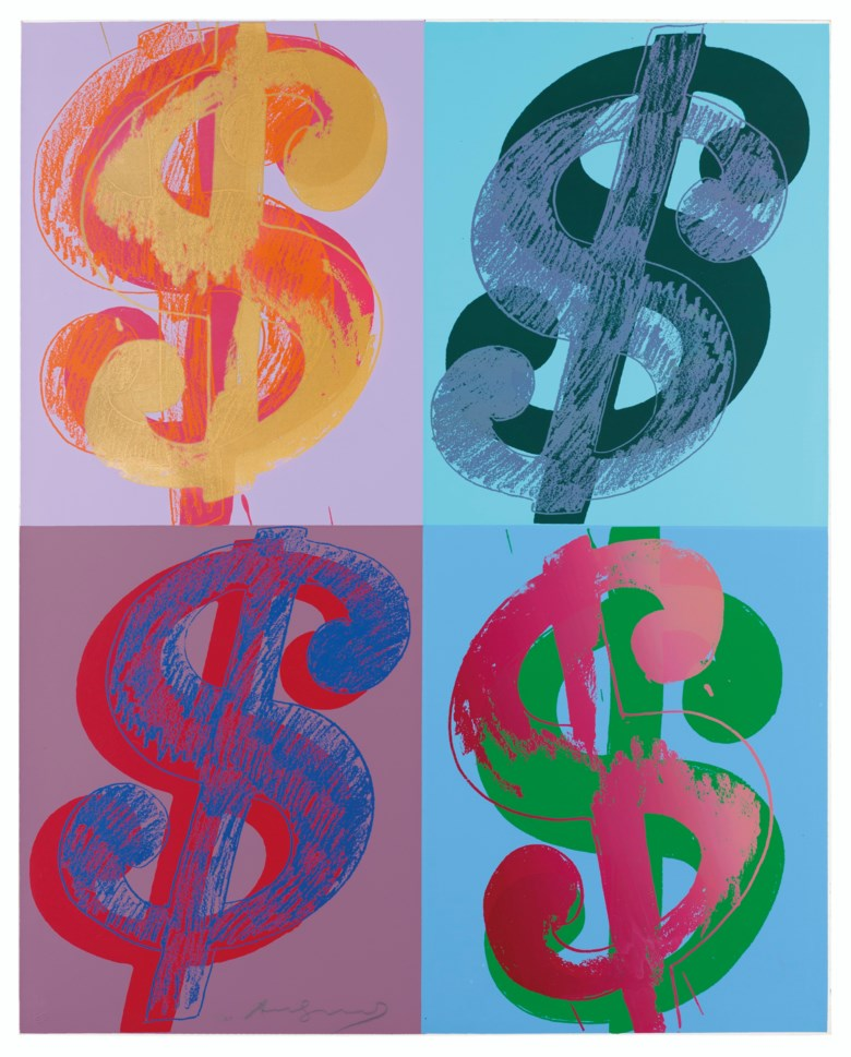 Andy Warhol (1928-1987), $ (Quadrant), 1982. Unique screenprint in colours on Lenox Museum Board, signed in pencil, numbered 1160, 40 x 32 in (101.5 x 81.5 cm). Estimate £70,000-100,000. Offered in Prints & Multiples on 18 March 2020 at Christie's in London