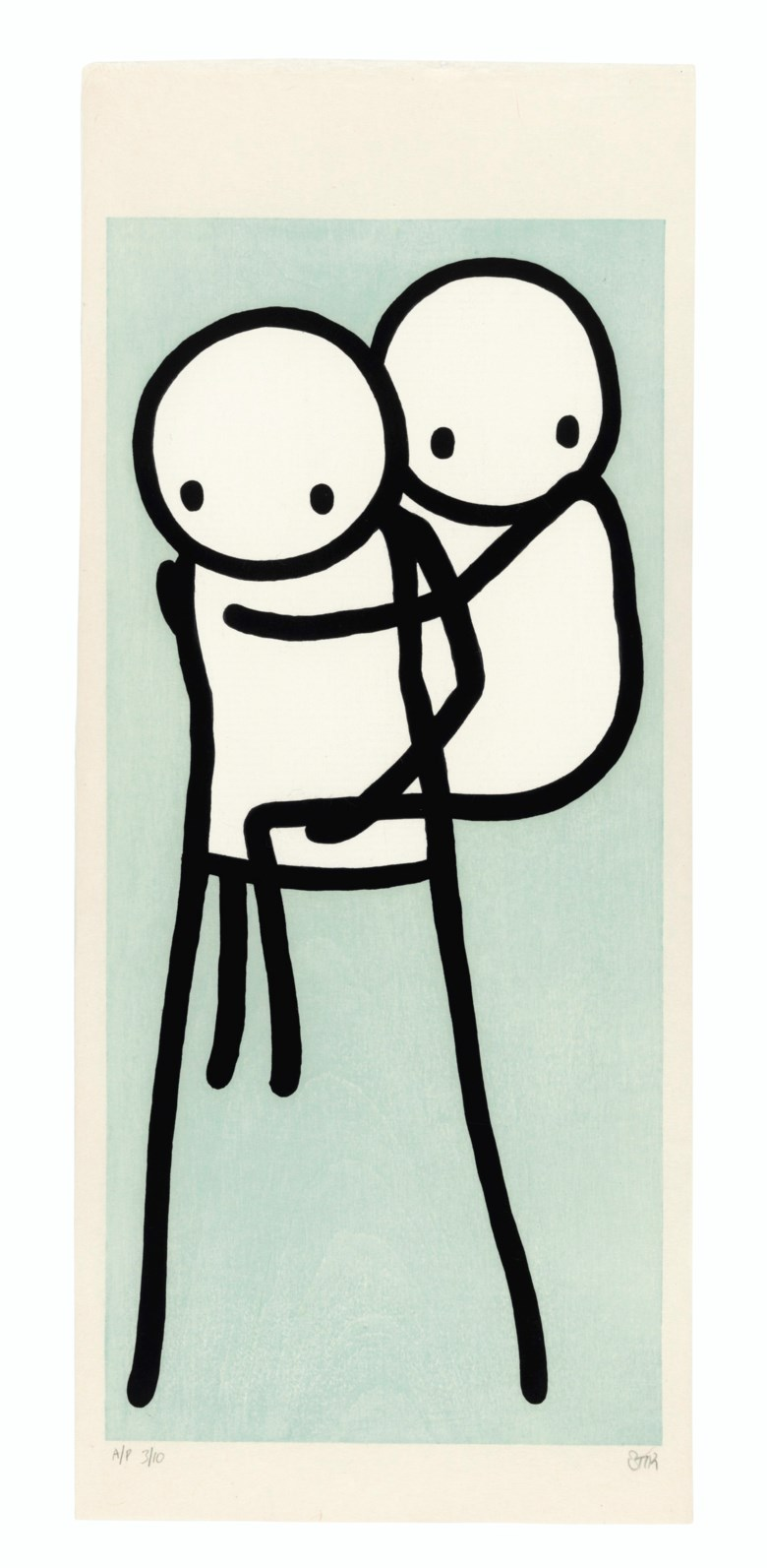 Stik (b. 1979), Onbu (Piggyback) (Blue), 2013. Ukiyo-e woodcut in black, white and blue on laid rice paper. Block 395 x 180  mm. Sheet 478 x 200  mm. Estimate £7,000-10,000. Offered in Prints & Multiples on 18 March 2020 at Christie's in London