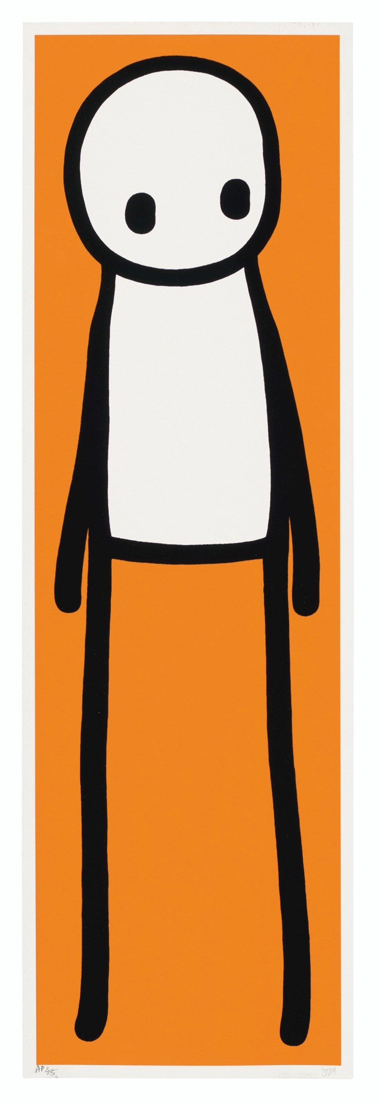 Stik (b. 1979), Book deluxe edition (Orange), 2015. Screenprint in glossy black enamel with Giclée in orange on stiff wove paper. Image 29⅛ x 8⅗ in. Sheet 29⅞ x 9⅖ in (Image 74 x 22 cm. Sheet 75.8 x 24 cm). Estimate £20,000-30,000. Offered in Prints & Multiples on 18 March 2020 at Christie's in London