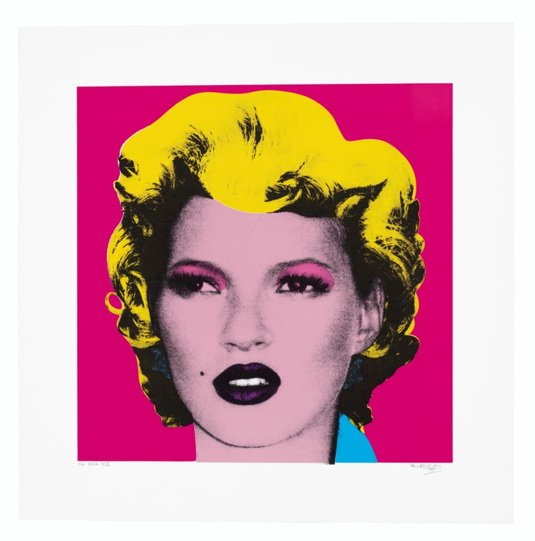 Banksy (b. 1975), Kate Moss, 2004. Screenprint in colours. Image 530 x 530  mm, Sheet 700 x 700  mm. Estimate £40,000-60,000. Offered in Prints & Multiples on 18 March 2020 at Christie's in London