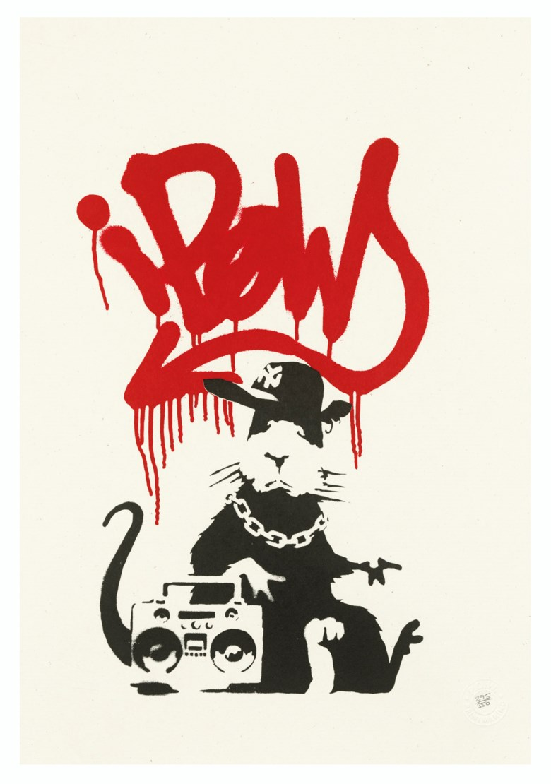 Banksy (b. 1975), Gangsta Rat, 2004. Screenprint in black and red. Image 357 x 230  mm, Sheet 500 x 350  mm. Estimate £12,000-18,000. Offered in Prints & Multiples on 18 March 2020 at Christie's in London