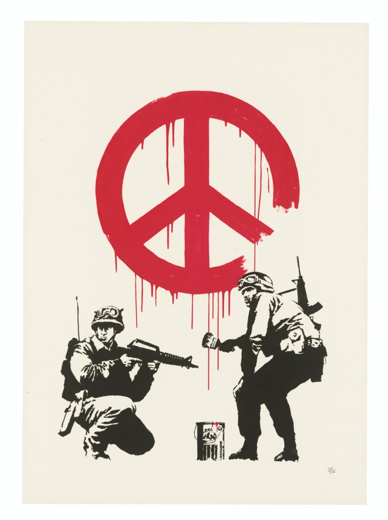 Banksy (b. 1975), CND, 2005. Screenprint in colours. Image 538 x 390 mm, Sheet 700 x 500  mm. Estimate £7,000-10,000. Offered in Prints & Multiples on 18 March 2020 at Christie's in London