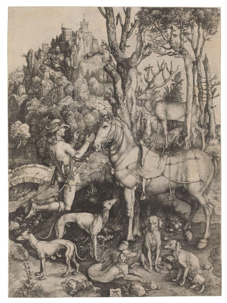 Albrecht Dürer (1471-1528), Saint Eustace. Sheet 356 x 260 mm. Sold for £87,500 in Old Master Prints, 1-15 July 2020, online