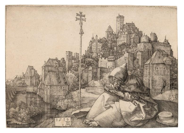 Albrecht Dürer (1471-1528), Saint Anthony reading, 1519. Engraving on laid paper. Sheet 102 x 142 mm. Sold for £35,000 in Old Master Prints, 1-15 July 2020, Online