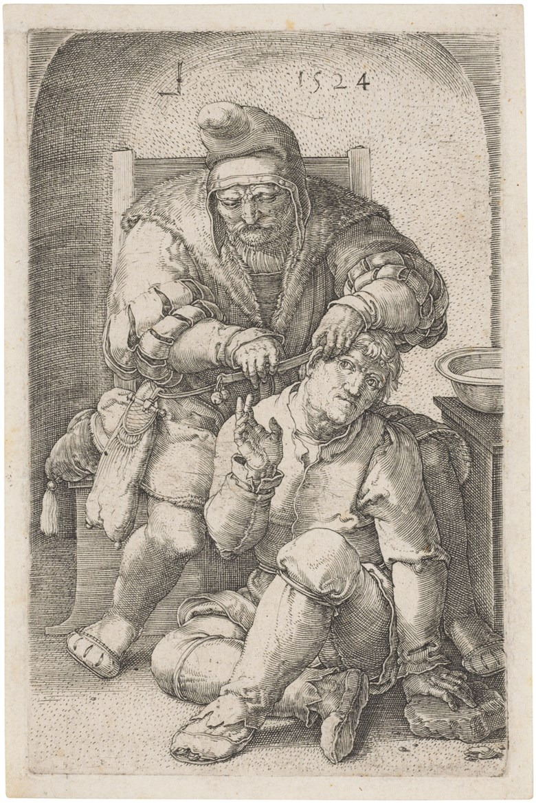 Lucas van Leyden (1494-1533), The Surgeon, 1524. Engraving on laid paper. Sheet 125 x 83 mm. Sold for £1,375 inOld Master Prints, 1-15 July 2020, Online