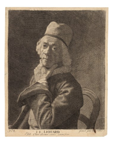 Jean-Etienne Liotard (1702-1789), The Small Self-Portrait, circa 1781. Mezzotint with roulette and engraving on laid paper. Sheet 213 x 170 mm. Offered in Old Master Prints, 1-15 July 2020, Online