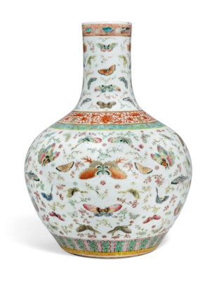 A LARGE FAMILLE ROSE 'BUTTERFLY AND PRUNUS' BOTTLE VASE
