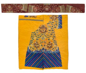 A YELLOW SILK EMBROIDERED UNCUT DRAGON ROBE AND A BROWN SILK