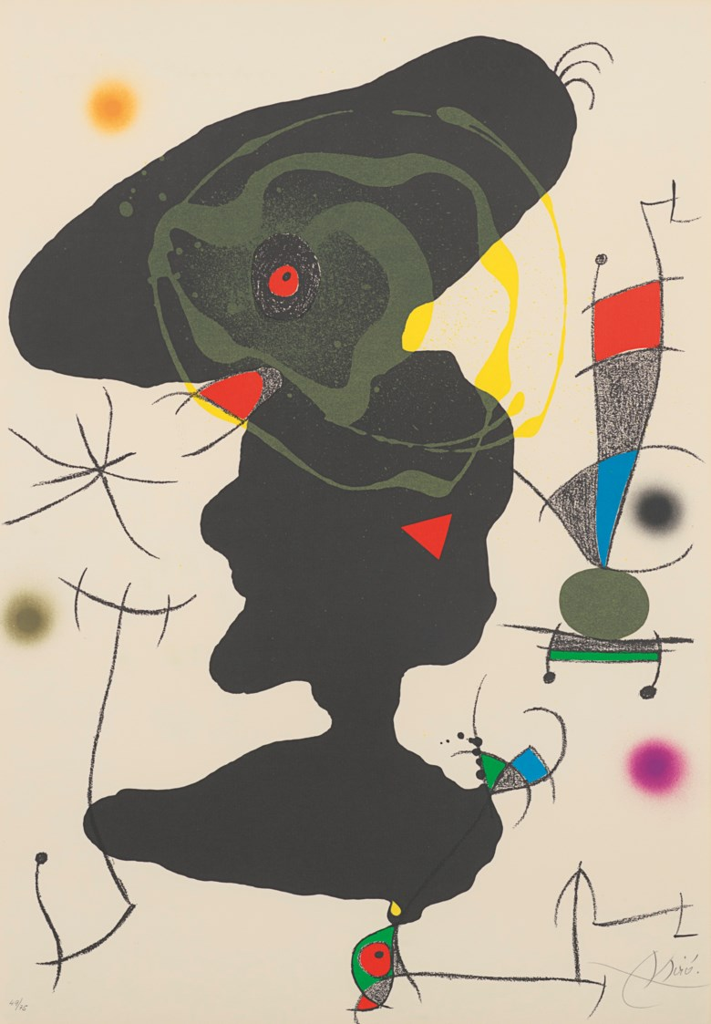 Joan Miró (1893-1983), Plate V from Oda a Joan Miró, 1973. Lithograph in colours, on Guarro wove paper. Sheet 877 x 610 mm. Estimate £4,000-6,000. Offered in Modern Edition Works on Paper and Prints, 15 June to 1 July 2020, Online