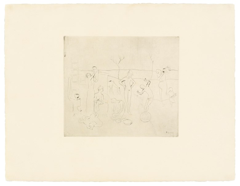 Pablo Picasso (1881-1973), Les Saltimbanques, from La Suite des Saltimbanques, 1905. Drypoint, on Van Gelder wove paper. Sheet 507 x 657 mm. Estimate £2,500-3,500. Offered in Modern Edition Works on Paper and Prints, 15 June to 1 July 2020, Online