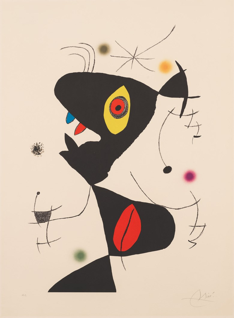 Joan Miró (1893-1983), Plate VI, from Oda a Joan Miró, 1973. Lithograph in colours, on Guarro wove paper. Sheet 1037 x 767 mm. Estimate £2,500-3,500. Offered in Modern Edition Works on Paper and Prints, 15 June to 1 July 2020, Online