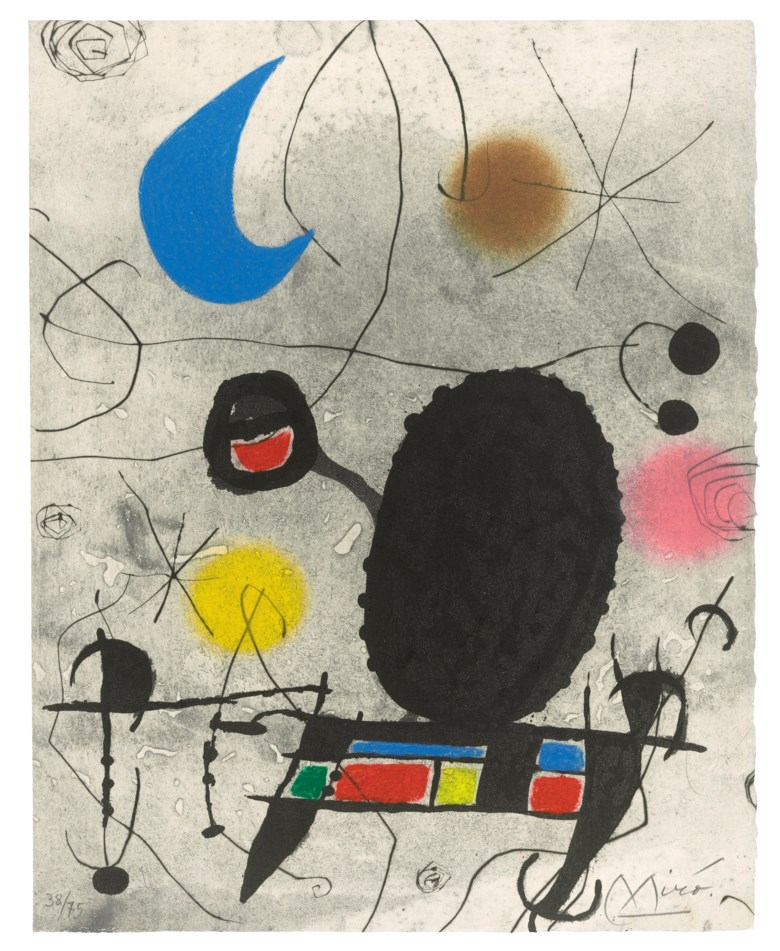 Joan Miró (1893-1983), One Plate, from LOiseau Solaire, LOiseau Lunaire, Étincelles, 1967. Etching, aquatint and carborundum in colours, on Arches wove paper. Plate & Sheet 308 x 245 mm. Estimate £3,000-5,000. Offered in Modern Edition Works on Paper and Prints, 15 June to 1 July 2020, Online