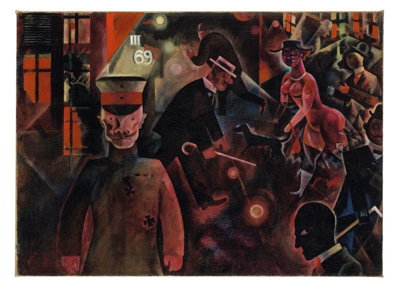 George Grosz (1893-1959), Gefährliche Straße, painted in July 1918. Oil on canvas. 18⅝ x 25¾  in (47.3 x 65.3  cm). Sold for £9,740,250 on 5 February 2020 at Christie's in London