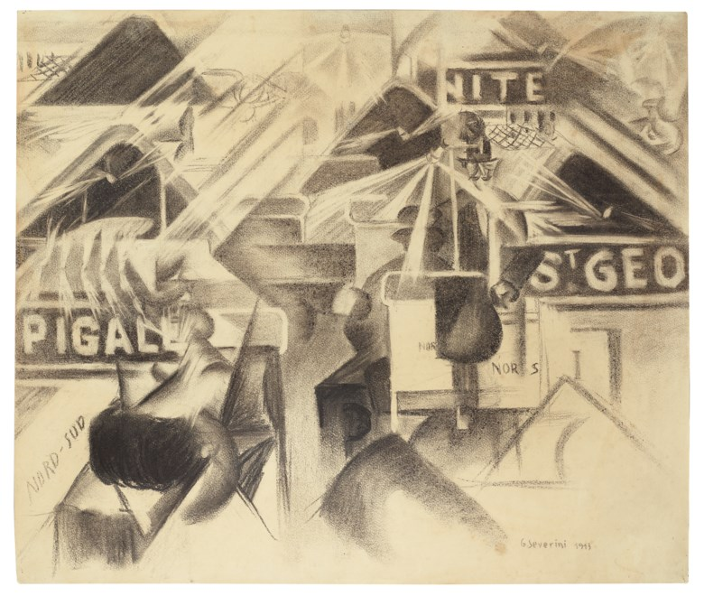 Gino Severini (1883-1966), La Ferrovia Nord-Sud, 1913.Charcoal on paper. 17¾ x 20⅞ in (45.2 x 53 cm). Estimate £700,000-1,000,000. Offered in Impressionist and Modern Art Evening Sale on 5 February 2020 at Christie's in London