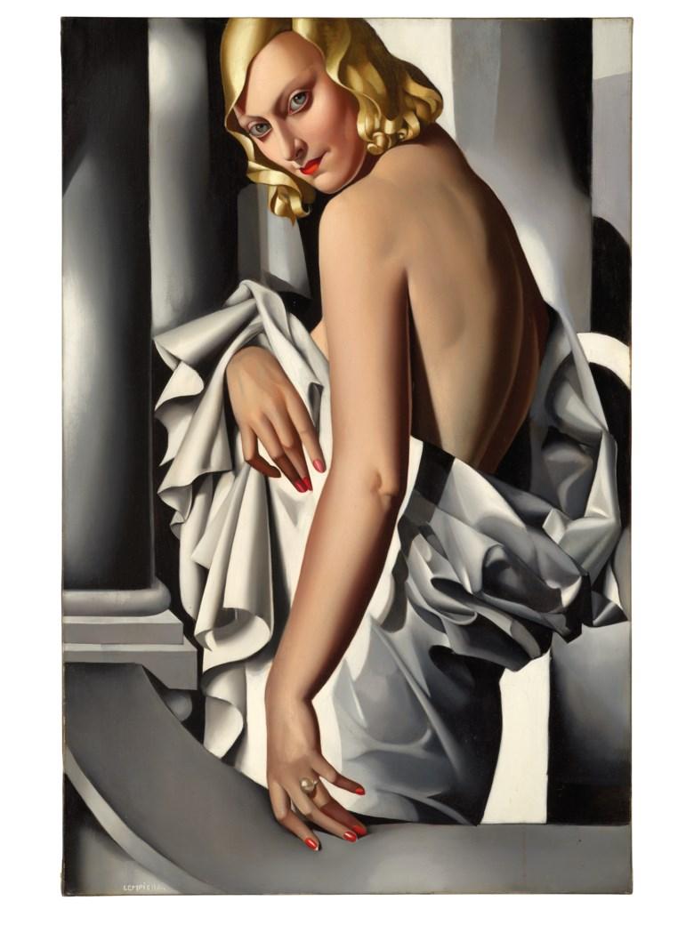 塔玛拉·德·蓝碧嘉,《马乔里·费里肖像》,1932年作。油彩 画布。39 38 x 25 58英寸(100 x 65公分)。此作于2020年2月5日在佳士得伦敦售出,成交价16,380,000英镑。艺术作品:© Tamara de Lempicka Estate, LLC  ADAGP, Paris and DACS, London 2020
