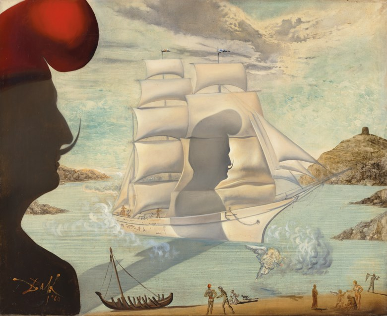 Salvador Dalí (1904-1989), Sans titre, bateau à voiles dans la baie de Port Lligat, executed in 1960. Oil on canvas. 11⅜ x 12⅞  in (28.8 x 32.8  cm). Sold for £1,811,250 on 5 February 2020 at Christie's in London