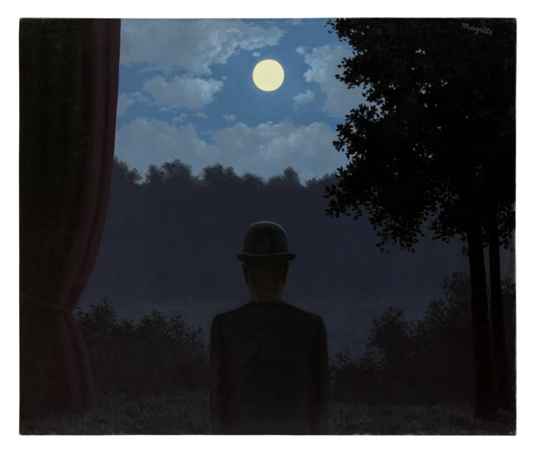 René Magritte (1898-1967), A la rencontre du plaisir, painted in 1962. Oil on canvas. 18⅛ x 21⅝  in (46 x 55  cm). Sold for £18,933,750 on 5 February 2020 at Christie's in London