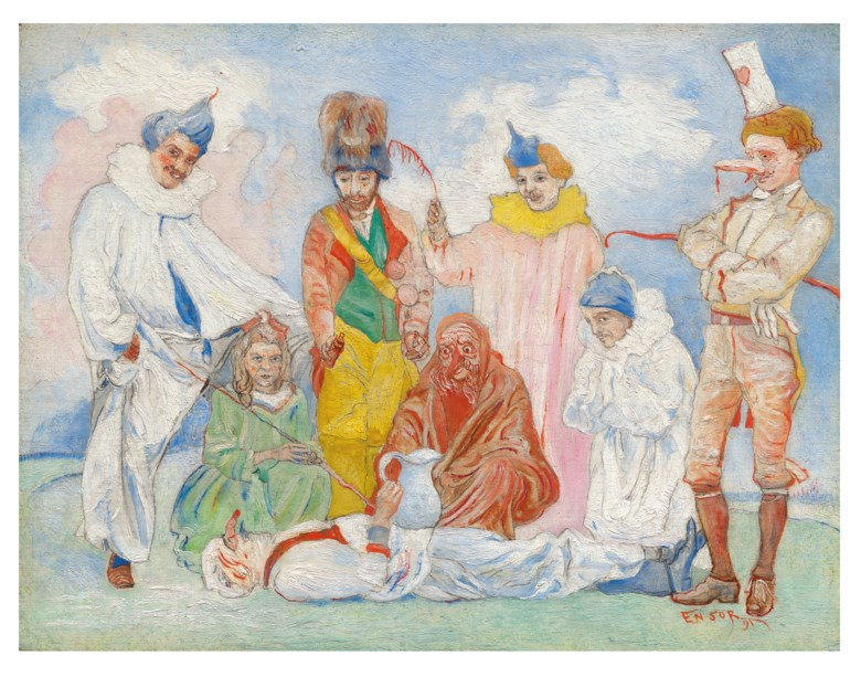 James Ensor (1860-1949), Baptême des masques, 1891. Oil on panel. 7½ x 9⅝ in (19 x 24.5 cm). £1,000,000-1,500,000. Offered in The Art of the Surreal Evening Sale on 5 February 2020 at Christie's in London