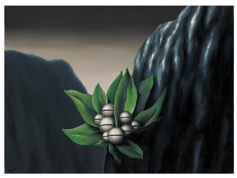 René Magritte (1898-1967), Les fleurs de labîme, painted in 1928. Oil on canvas. 21¼ x 28¾  in (54.1 x 73  cm). Estimate £1,200,000-1,800,000. Offered in The Art Of The Surreal Evening Sale on 5 February 2020 at Christie's in London
