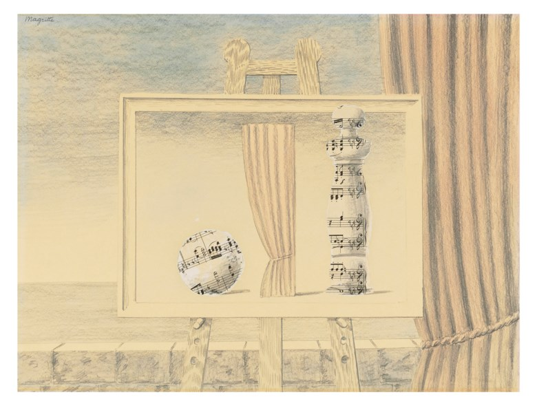 René Magritte (1898–1967), Sans titre (La partition), executed in 1961 or 1962. Pencil, watercolour and collage on paper. 11¾ x 15⅞  in (30 x 40.1  cm). Estimate £350,000-550,000. Offered in The Art Of The Surreal Evening Sale on 5 February 2020 at Christie's in London