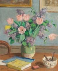 Bouquet de lilas et tulipes
