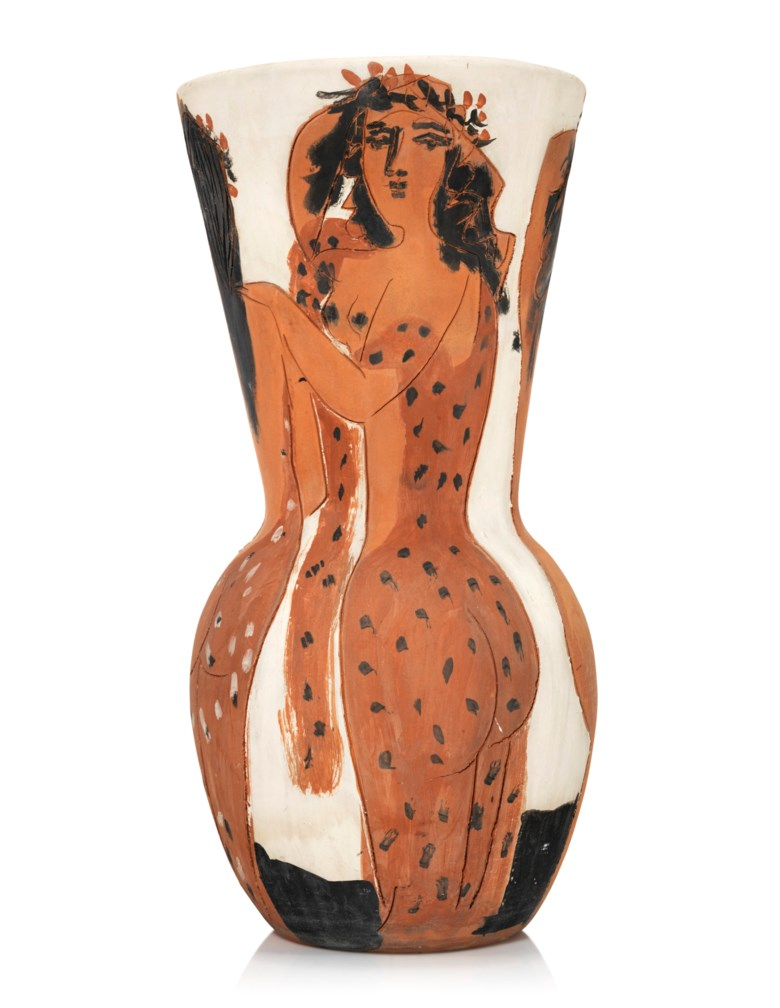 Pablo Picasso (1881-1973), Grand vase aux femmes voilées (A.R. 116), conceived in 1950 and executed in a numbered edition of 25. Height 25⅝ in (65.1 cm). Estimate £100,000-150,000. Offered in Picasso Ceramics, 3-17 September 2020, Online