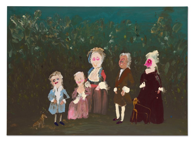 Genieve Figgis (b. 1972), 17th Century Family, 2018. Acrylic on canvas. 39⅜ x 55⅛ in (100 x 140 cm). Estimate £20,000-30,000. Offered in Post-War and Contemporary Art Day Sale on 13 February 2020 at Christie's in London