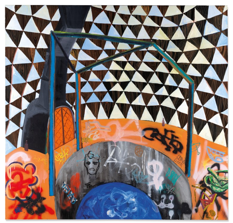 Shara Hughes (b. 1981), Water Tower, 2007. Acrylic, metallic paint, spray enamel and glitter on canvas.48 x 50 in (122 x 127 cm). Estimate £20,000-30,000. Offered in Post-War and Contemporary Art Day Sale on 13 February 2020 at Christie's in London