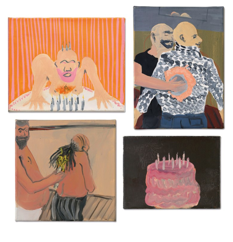 Tala Madani (b. 1981), (i) Orange Burn (ii) Burning Hair (iii) Pull Over (iv) Pink Cake, 2006-07. Various media on canvas. Various dimensions. Estimate £20,000-30,000. Offered in Post-War and Contemporary Art Day Sale on 13 February 2020 at Christie's in London