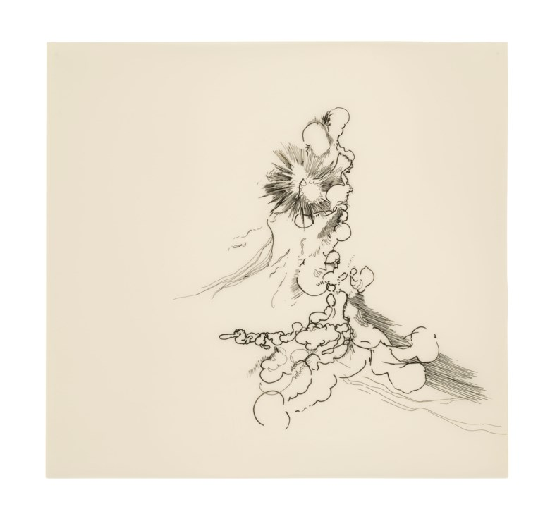 Julie Mehretu (b. 1970), Untitled, 2001. Ink on mylar paper. 18¾ x 19⅞ in (47.6 x 50.5 cm). Estimate £15,000-20,000. Offered in Post-War and Contemporary Art Day Sale on 13 February 2020 at Christie's in London