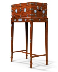 A CONSULAT CUT-STEEL-MOUNTED MAHOGANY AND JASPERWARE COFFER-ON-STAND