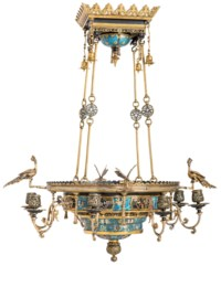 A FRENCH 'CHINOISERIE' GILT AND PATINATED-BRONZE AND CLOISONNE ENAMEL EIGHT-LIGHT CHANDELIER