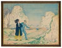 Romance (i); Bathers sitting on rocks (ii); and The stile (iii)