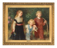 Group portrait of Georgina Meriel (1863-1922), Seymour Henry (1864-1934) and Lancelot (1868-1928), the children of Allen Bathurst, 6th Earl Bathurst