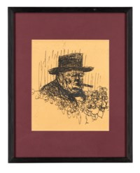 Sir Winston Churchill has come in for renewed praise by Soviet political writers, plate 16, from: Topolski's Chronicle, No.2 Vol 1.