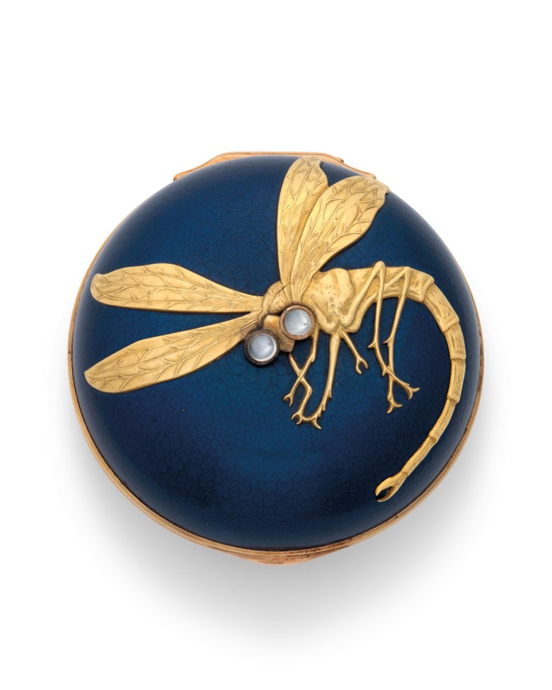 A rare gem-set, gold-mounted, lacquered papier-maché bonbonnière, marked Fabergé with the workmasters mark of Michael Perchin, St Petersburg, circa 1890. 2½  in (6.3  cm) diameter. Estimate £20,000-30,000. Offered in Russian Arton 23 November 2020 at Christie's in London
