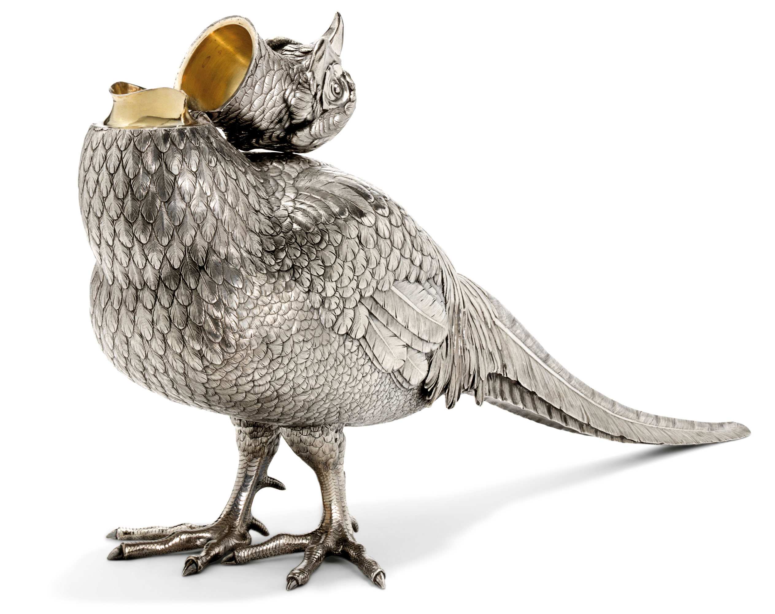 A LARGE AND RARE SILVER WINE EWER IN THE FORM OF A PHEASANT