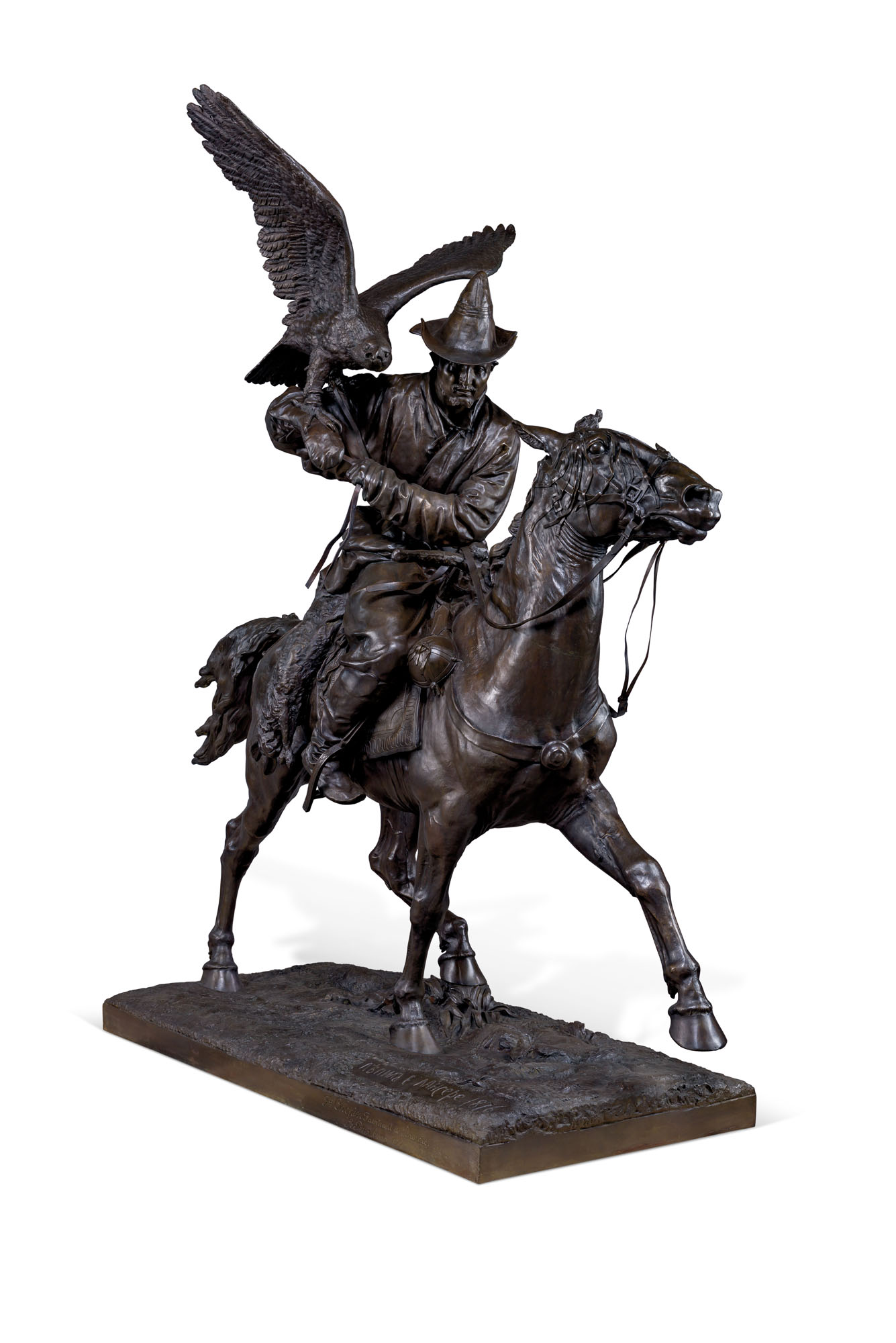 A MONUMENTAL AND VERY RARE BRONZE MODEL OF A KIRGHIZ WITH A GOLDEN EAGLE