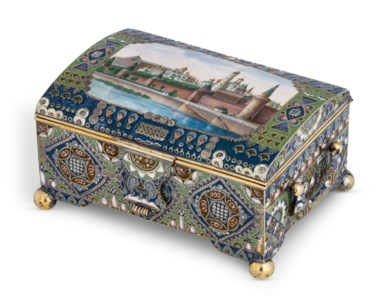 A rare and large silver-gilt cloisonné, guilloché and en plein enamel casket, marked K. Fabergé with imperial warrant, overstriking the mark of Feodor Rückert, Moscow, 1908-1917, scratched inventory number 35709. 5⅞  in (15  cm) wide, with handles. Estimate £150,000-200,000. Offered in Russian Arton 23 November 2020 at Christie's in London