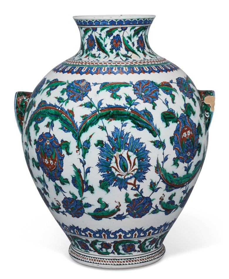 An impressive Iznik-style pottery vase, Ulisse Cantagalli, Florence, Italy, late 19th century. 23¾ in (60.4 cm) high. Estimate £8,000-12,000. Offered in Art of the Islamic and Indian Worlds Including Oriental Rugs and Carpetson 25 June 2020 at Christie's in London