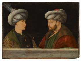 PORTRAIT OF SULTAN MEHMED II (1432-1481) WITH A YOUNG DIGNIT