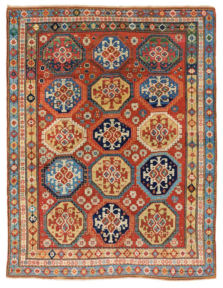 A Kazak rug, south Caucasus, mid 19th century. 8 ft 5 in x 6 ft 4 in (256 cm x 193 cm). Estimate £15,000-20,000. Offered in Art of the Islamic and Indian Worlds Including Oriental Rugs and Carpets on 25 June 2020 at Christie's in London