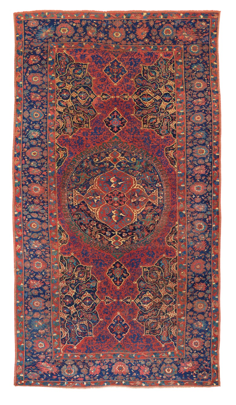 A large medallion Ushak carpet, west Anatolia, late 16thearly 17th century. 18 ft 9 in x 10 ft 2 in (577 cm x 311 cm). Estimate £20,000-30,000. Offered in Art of the Islamic and Indian Worlds Including Oriental Rugs and Carpets on 25 June 2020 at Christie's in London
