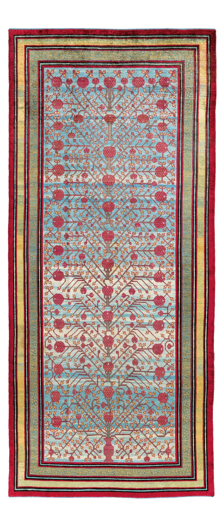 A silk Yarkand carpet, east Turkestan, first half 19th century. 11 ft 8 in x 5 ft 1 in (359 cm x 154 cm). Estimate £50,000-70,000. Offered in Art of the Islamic and Indian Worlds Including Oriental Rugs and Carpets on 25 June 2020 at Christie's in London