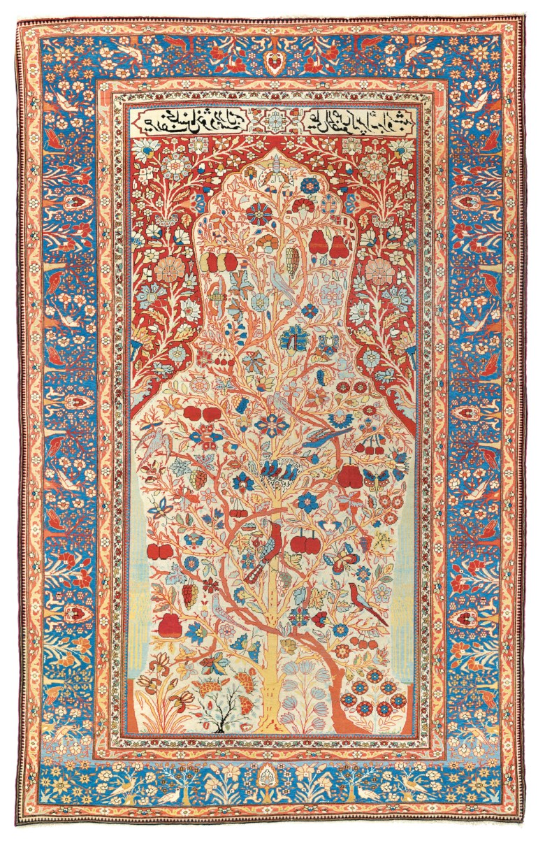 A Kashan Mohtasham prayer rug, central Persia, circa 1890. 6 ft 7 in x 4 ft 4 in (204 cm x 133 cm). Estimate £8,000-12,000. Offered in Art of the Islamic and Indian Worlds Including Oriental Rugs and Carpets on 25 June 2020 at Christie's in London