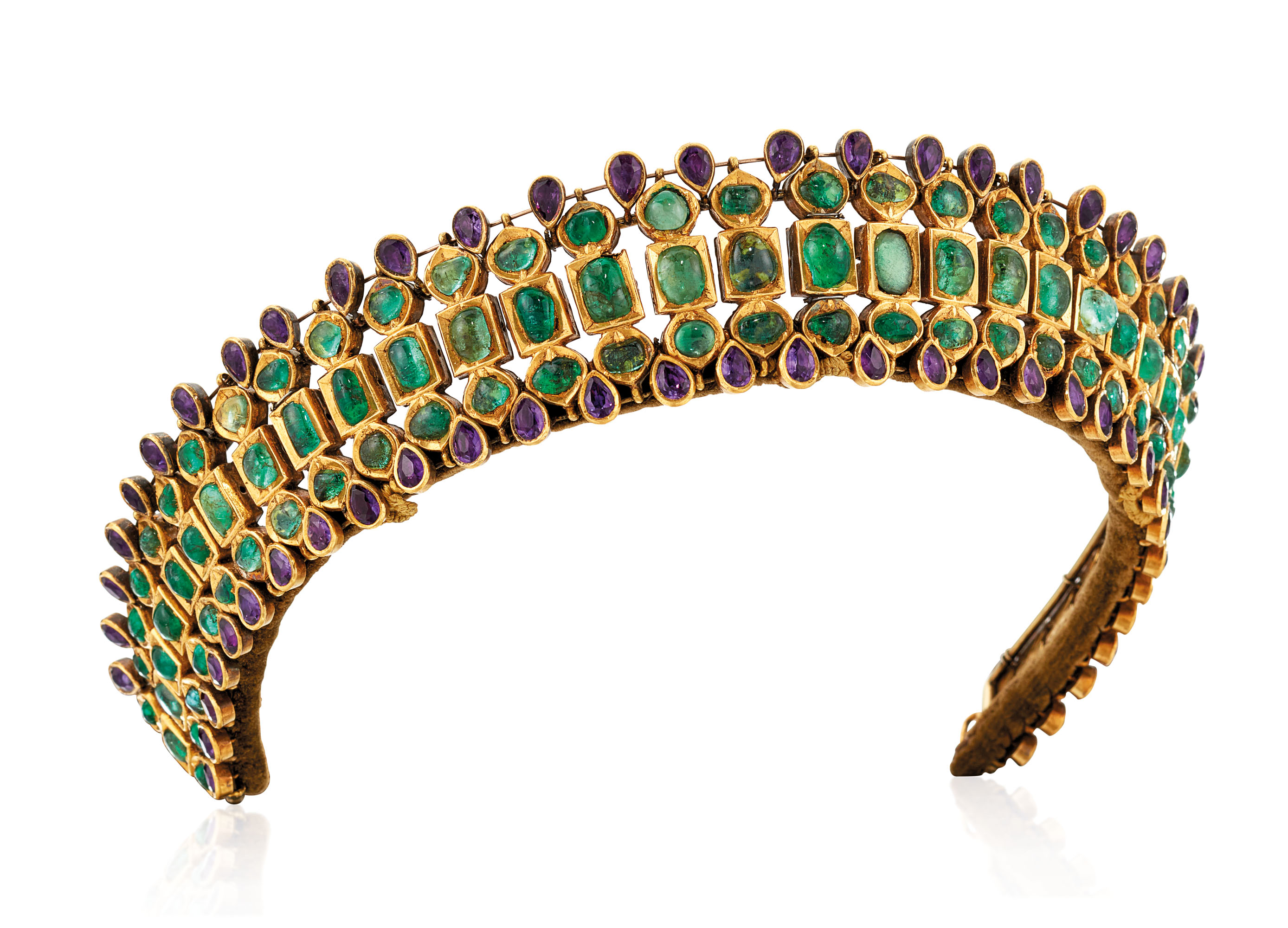 LATE 19TH CENTURY EMERALD AND AMETHYST TIARA