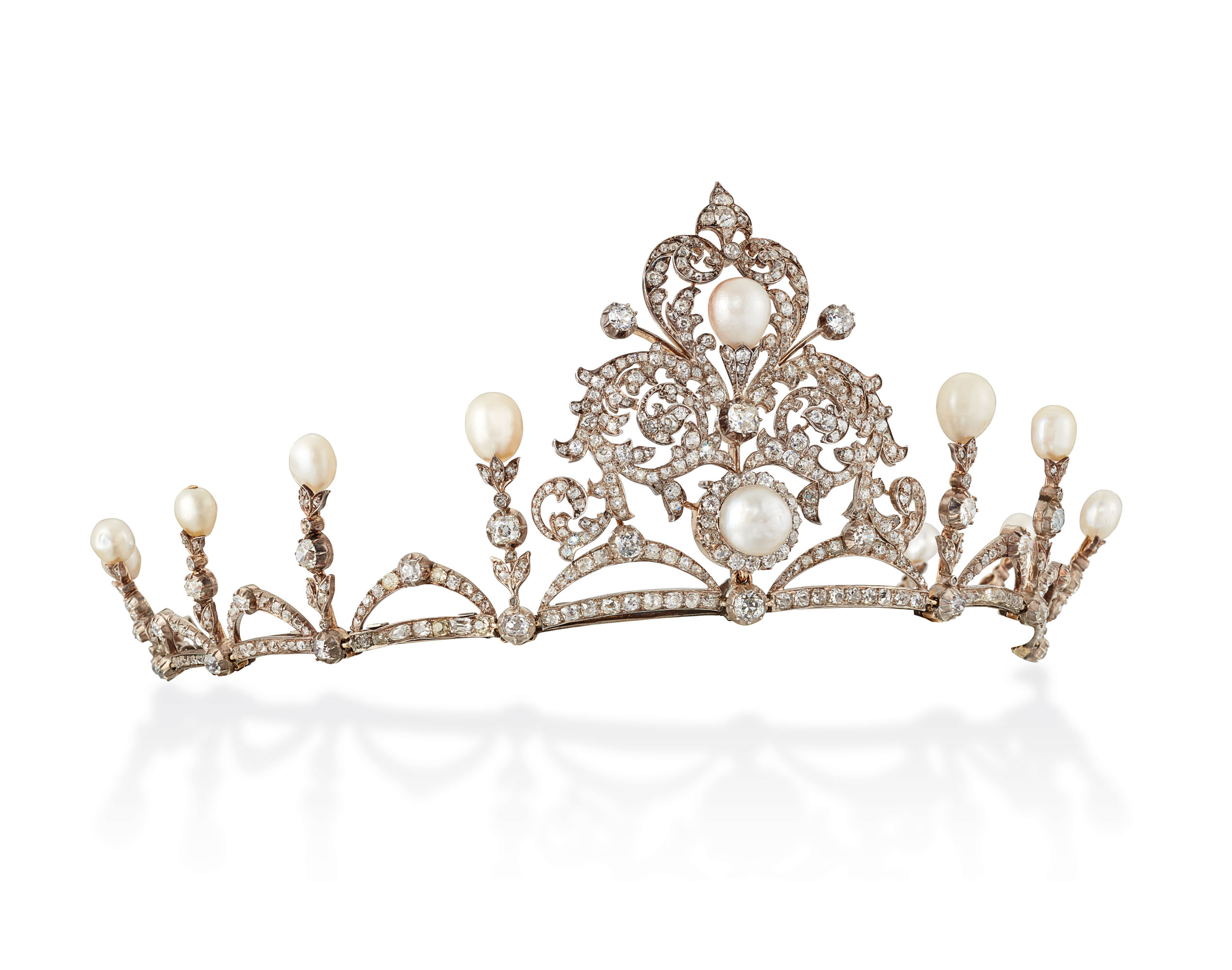 LATE 19TH CENTURY NATURAL PEARL AND DIAMOND TIARA / NECKLACE
